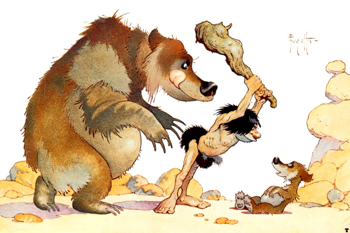 Frank Frazetta - Bear Watching Caveman Threaten Cub