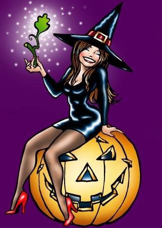 Halloween Witch-Sexy Black On Pumpkin - Clipart