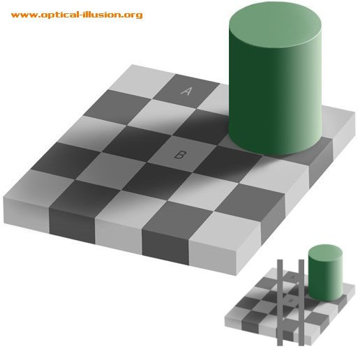 Did you know that squares A and B are the same colour?
