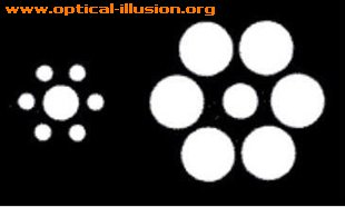 Which one of the surrounded circles is bigger? Impossible to believe they are of equal size.