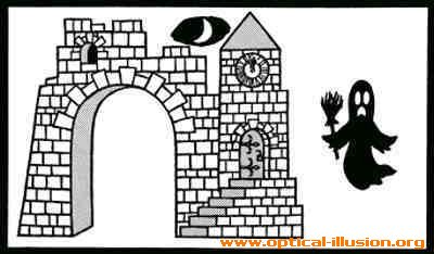 Don't move your eyes from ghost for 45 seconds. After that, look at the castle.