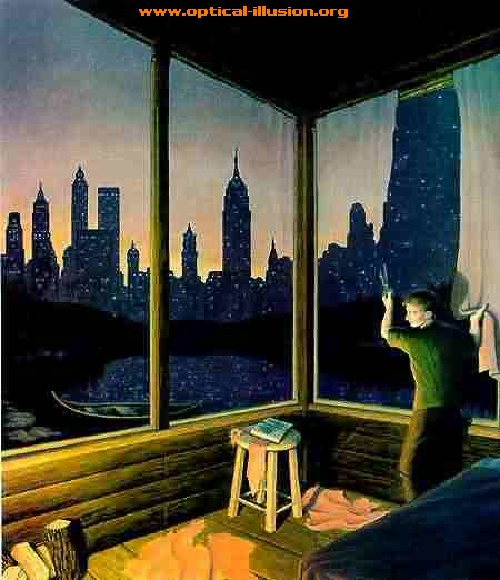 City and the curtains.