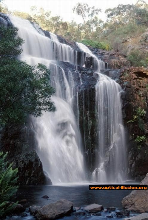Old man face in the waterfall.