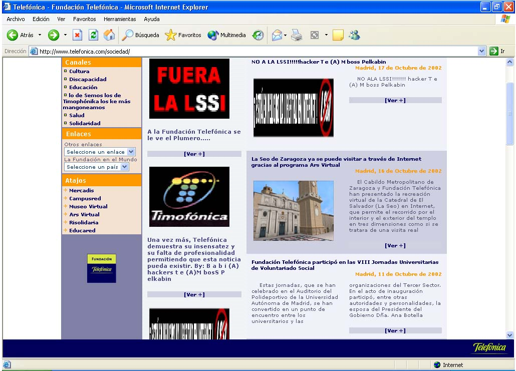 Fundacion Telefonica hackeada