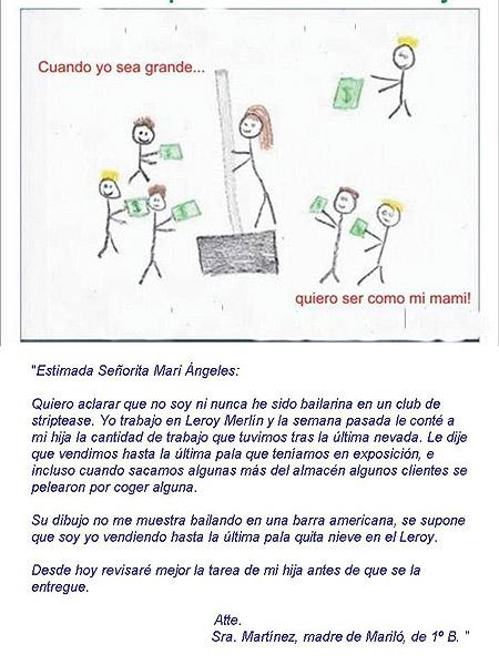 Dibujo escolar sobre el trabajo de la madre