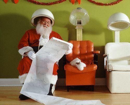 Papa Noel preparandose