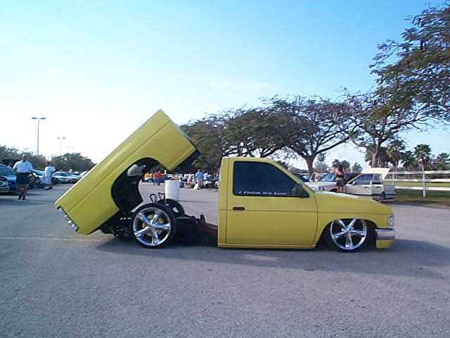 low rider trucks yellow