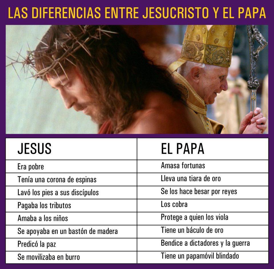 Diferencias entre Jesucristo y el Papa