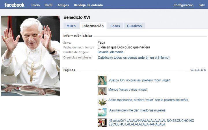 El facebook de Benedicto XVI
